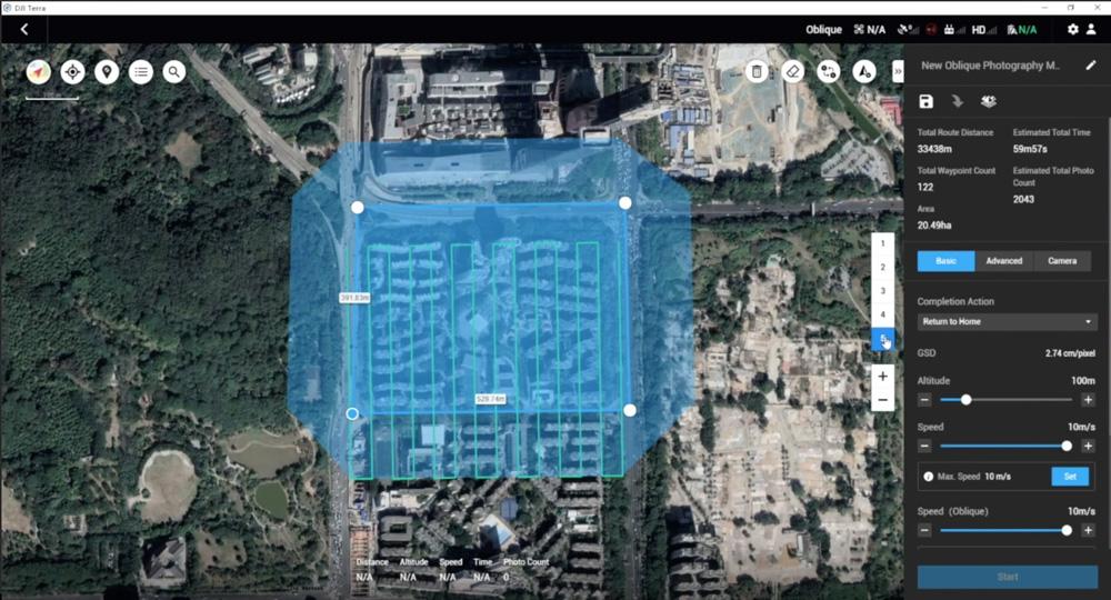 DJI Terra - Oblique Mission Planning