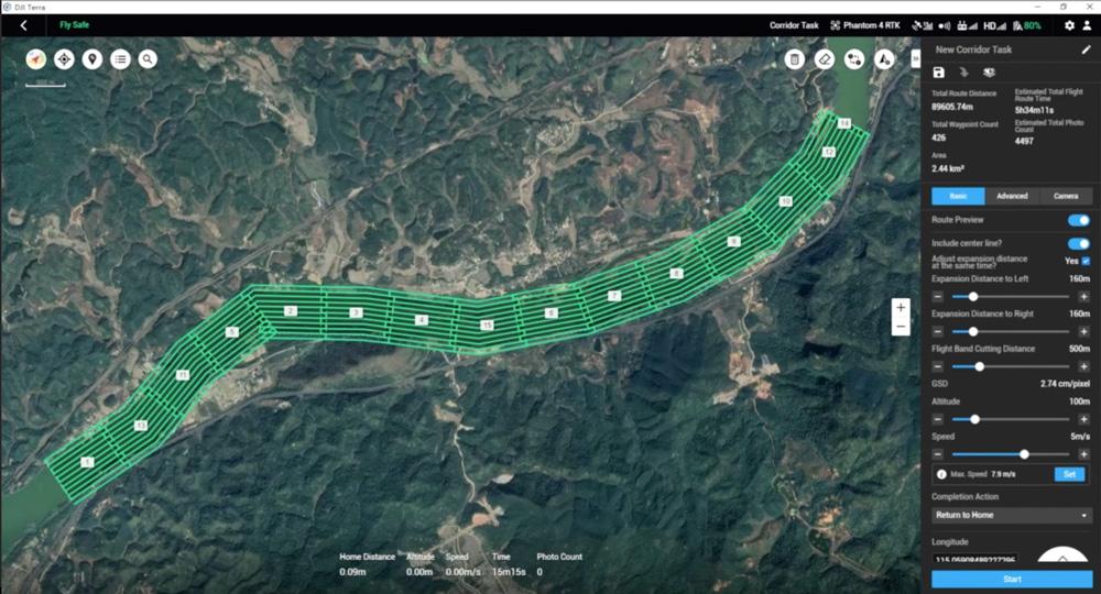 DJI Terra - Corridor Mission Planning
